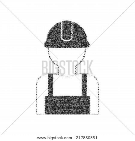 Worker sign. Vector. Black icon from many ovelapping circles with random opacity on white background. Noisy. Isolated.