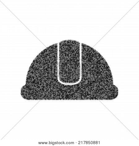 Hardhat sign. Vector. Black icon from many ovelapping circles with random opacity on white background. Noisy. Isolated.