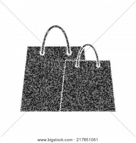 Shopping bags sign. Vector. Black icon from many ovelapping circles with random opacity on white background. Noisy. Isolated.
