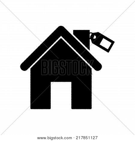 Home silhouette with tag. Vector. Black icon from many ovelapping circles with random opacity on white background. Noisy. Isolated.