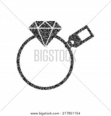 Diamond sign with tag. Vector. Black icon from many ovelapping circles with random opacity on white background. Noisy. Isolated.