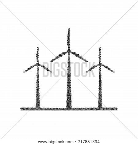 Wind turbines sign. Vector. Black icon from many ovelapping circles with random opacity on white background. Noisy. Isolated.