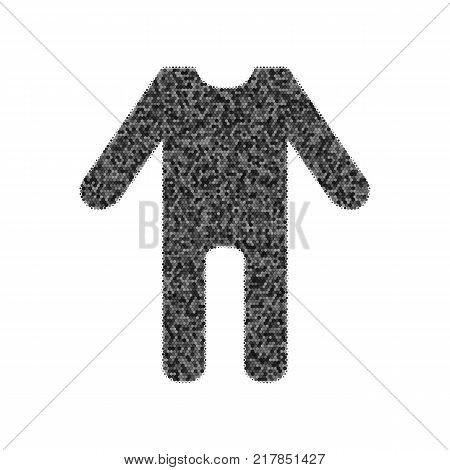 baby clothes sign. Vector. Black icon from many ovelapping circles with random opacity on white background. Noisy. Isolated.