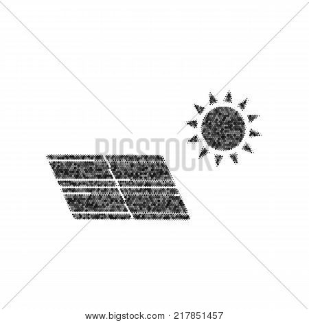 Solar energy panel. Eco trend concept sign. Vector. Black icon from many ovelapping circles with random opacity on white background. Noisy. Isolated.