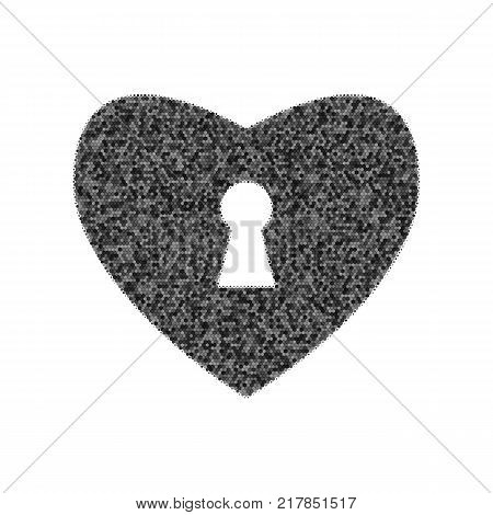 Heart with lock sign. Vector. Black icon from many ovelapping circles with random opacity on white background. Noisy. Isolated.