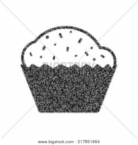Cupcake sign. Vector. Black icon from many ovelapping circles with random opacity on white background. Noisy. Isolated.