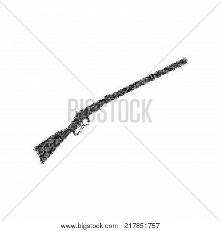 Hunting rifle icon vector illustration. Silhouette gun. Vector. Black icon from many ovelapping circles with random opacity on white background. Noisy. Isolated.