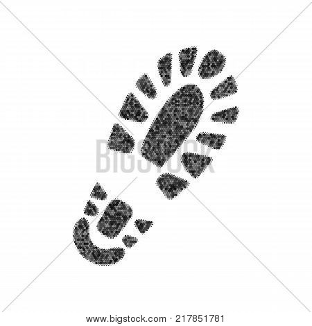 Footprint boot sign. Vector. Black icon from many ovelapping circles with random opacity on white background. Noisy. Isolated.
