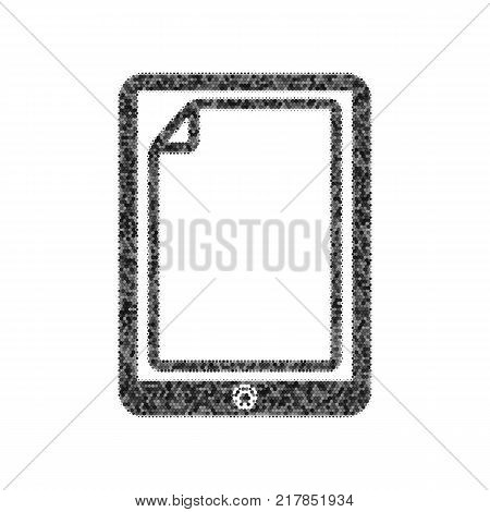 Protective sticker on the screen. Vector. Black icon from many ovelapping circles with random opacity on white background. Noisy. Isolated.