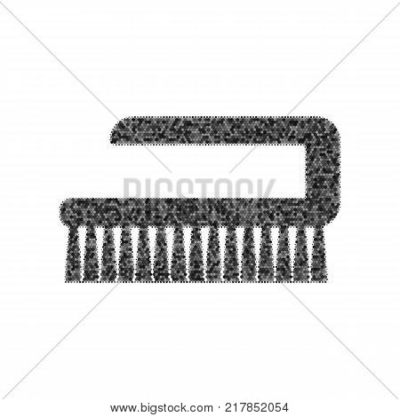 Cleaning brush hygiene tool sign. Vector. Black icon from many ovelapping circles with random opacity on white background. Noisy. Isolated.