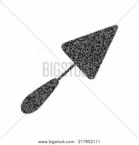 Trowel sign. Vector. Black icon from many ovelapping circles with random opacity on white background. Noisy. Isolated.