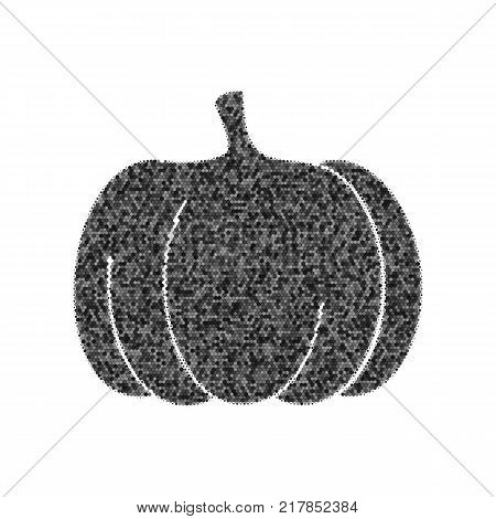Pumpkin sign. Vector. Black icon from many ovelapping circles with random opacity on white background. Noisy. Isolated.