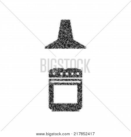 Electric or gas stove and extractor kitchen hood sign. Vector. Black icon from many ovelapping circles with random opacity on white background. Noisy. Isolated.