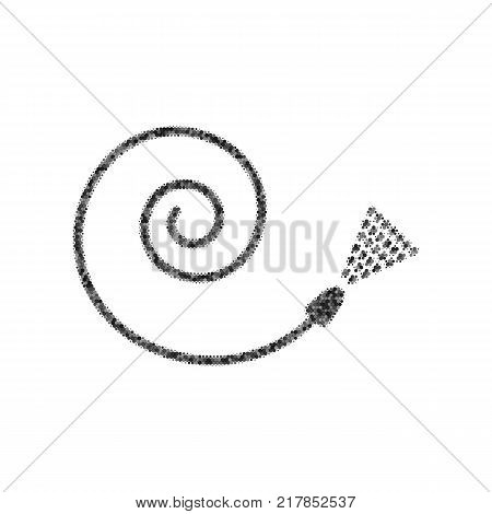 Garden hose sign. Vector. Black icon from many ovelapping circles with random opacity on white background. Noisy. Isolated.