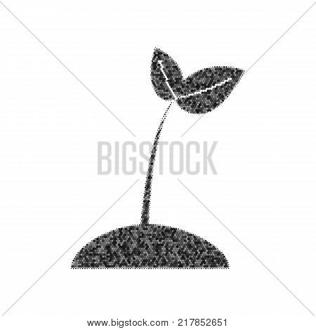 Sprout sign illustration. Vector. Black icon from many ovelapping circles with random opacity on white background. Noisy. Isolated.