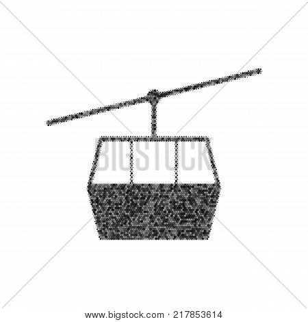 Funicular, Cable car sign. Vector. Black icon from many ovelapping circles with random opacity on white background. Noisy. Isolated.