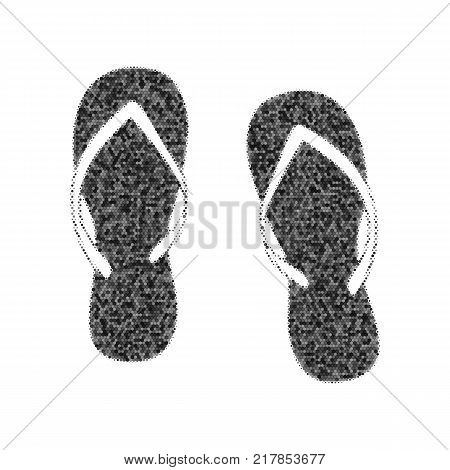 Flip flop sign. Vector. Black icon from many ovelapping circles with random opacity on white background. Noisy. Isolated.