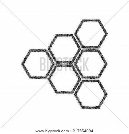 Honeycomb sign. Vector. Black icon from many ovelapping circles with random opacity on white background. Noisy. Isolated.