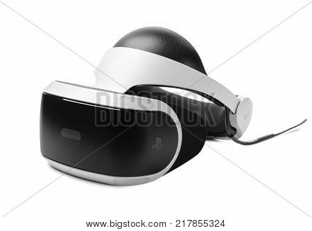 UFA RUSSIA - NOVEMBER 22 2017: Playstation VR headset unit for virtual reality gaming with sony playstation 4 pro. The PlayStation VR is a virtual reality headset developed by Sony Interactive.