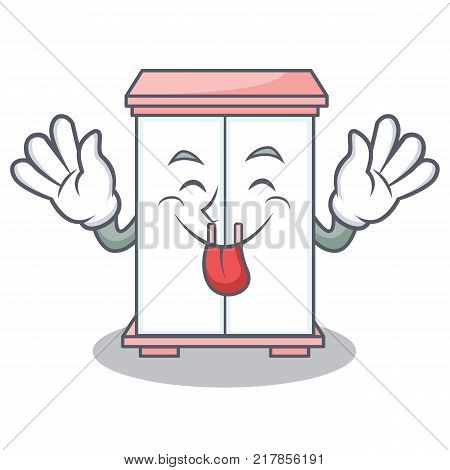 Tongue out cabinet character cartoon style vector illustration