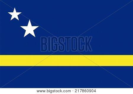 the Official vector flag of Curacao . vector