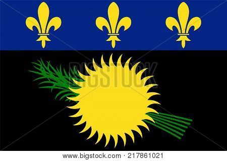 The Official vector flag of Guadeloupe . vector