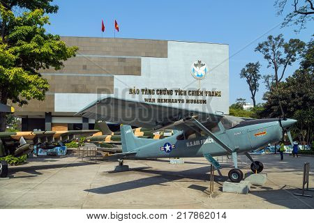 HO CHI MINH CITY VIETNAM - JANUARY 25 2015: War Remnants Museum. Army plane US AIR FORCE near Saigon Remnants Museum captured during the war is one of the most popular museums in Vietnam attracting.