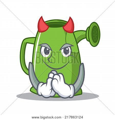 Devil watering can character cartoon vector illustration
