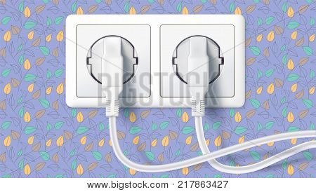 Two white plug inserted in a wall socket on backdrop of wall with colorful Wallpaper. The plug is plugged into the power lines with electric cord. Icon of connecting electrical appliances.