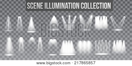 Scene illumination collection, transparent effects. Bright lighting with spotlights. Vector Illustration
