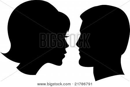 face man and woman on white