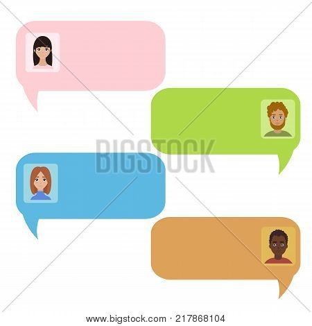 Colour chat bubbles. Chatbot and real people message. Icons for messenger interface