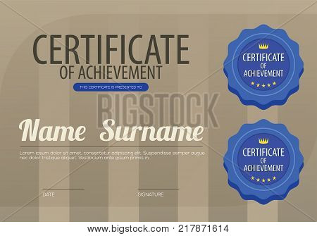 Brown Stripes With Blue Seal Simple And Clean Blank Certified Border Template Vector Illustration. EPS 10