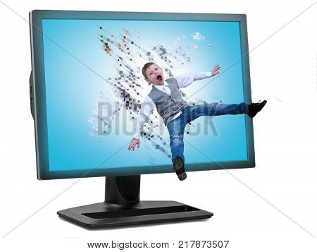 The child flies into the computer screen. The concept of children's Internet addiction the danger of the Internet and social networking