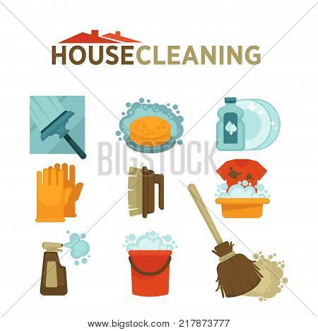 Home cleaning tools for washing or mopping flat icons. Vector isolated set of wash mop and laundry detergent or window glass cleaner, bathroom washing soap and duster brush