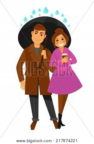 Rain weather happy couple under umbrella. Man and woman in raincoat in raining autumn season with raining drops. Vector flat isolated icon