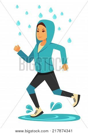 Rainy weather and young girl or woman jogging under rain drops. Woman running in sportswear in rainy day of autumn season. Vector flat isolated icon