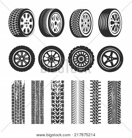Car tires and tire track traces of tread pattern. Vector car tire different types protector tack texture set on white background