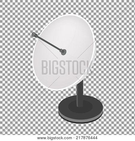 Isometric vector Satellite antenna icon on transparent background. Satellite broadcasting dish flat design. - stock vector