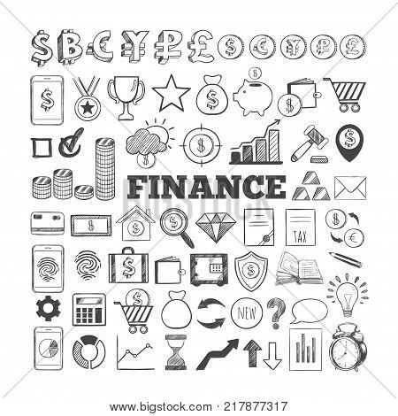 Business and Finance vector icons. Hand drawn isolated elements for web and mobile concepts. Money, Payments, Financial Safety modern infographic