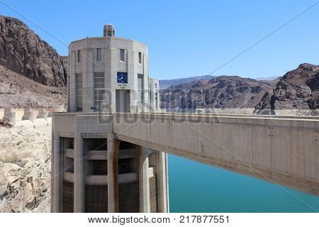 Nevada Intake Tower on Hoover Dam at the Stateline of Nevada-Arizona. USA