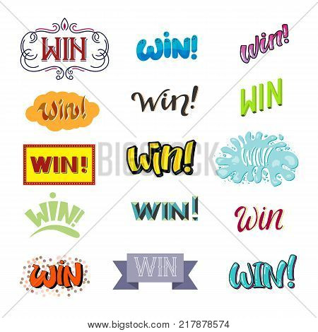 Win lettering text vector set winner with prize banner success winning competition illustration sign isolated on white background.