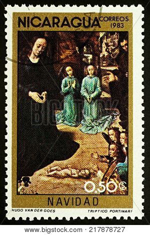 Moscow Russia - December 11 2017: A stamp printed in Nicaragua shows painting