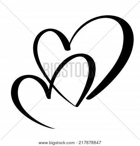 Two lovers heart. Handmade vector calligraphy. Decor for greeting card, mug, photo overlays, t-shirt print, flyer, poster design.