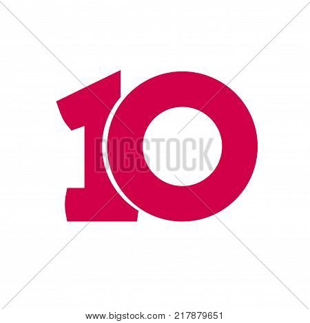 Number 10 vector symbol, simple ten text isolated on white