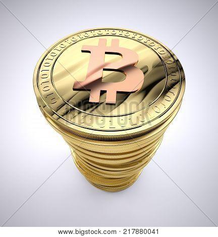 A Stack of golden Bitcoins, 3d illustration