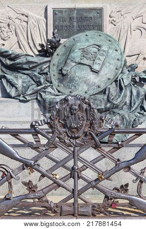 Monument to Victor Emmanuel II first king of united Italy details Riva degli Schiavoni Venice Italy