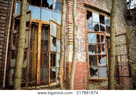 brokwn window of a lost factory in germany