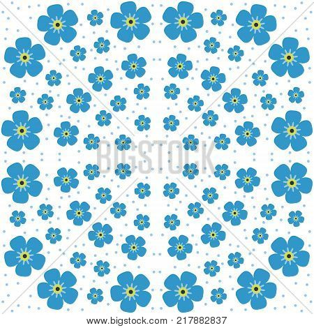 Square composition with forget-me-not flowers. Country style, floral pattern enchanting background for scarf print, textile, covers, surface, decoupage. Design wrapping, wallpaper, scrapbooking.