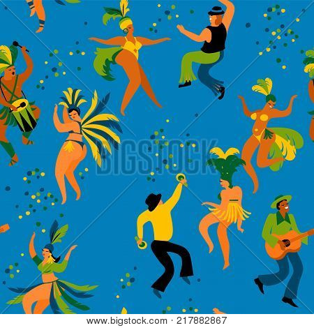Brazil carnival. Seamless pattern with funny dancing men and women in bright costumes. Design element for carnival concept and other users
